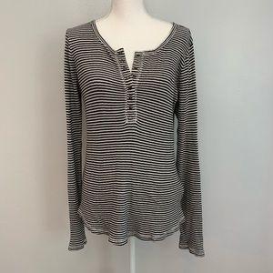 Lucky Brand | Striped Henley Long Sleeve T Shirt